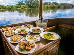 Lunch spread on the afternoon Ra Ikane cruise Zambezi River, Victoria Falls, Zimbabwe