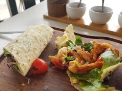 Delicious wraps at the Shearwater Cafe in Victoria Falls, Zimbabwe
