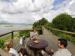 View of the river on the deck of Chobe Game Lodge