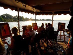 A river cruise painting workshop on the Zambezi River in Victoria Falls - Zimbabwe