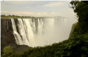 View of the Victoria Falls main falls during low water season