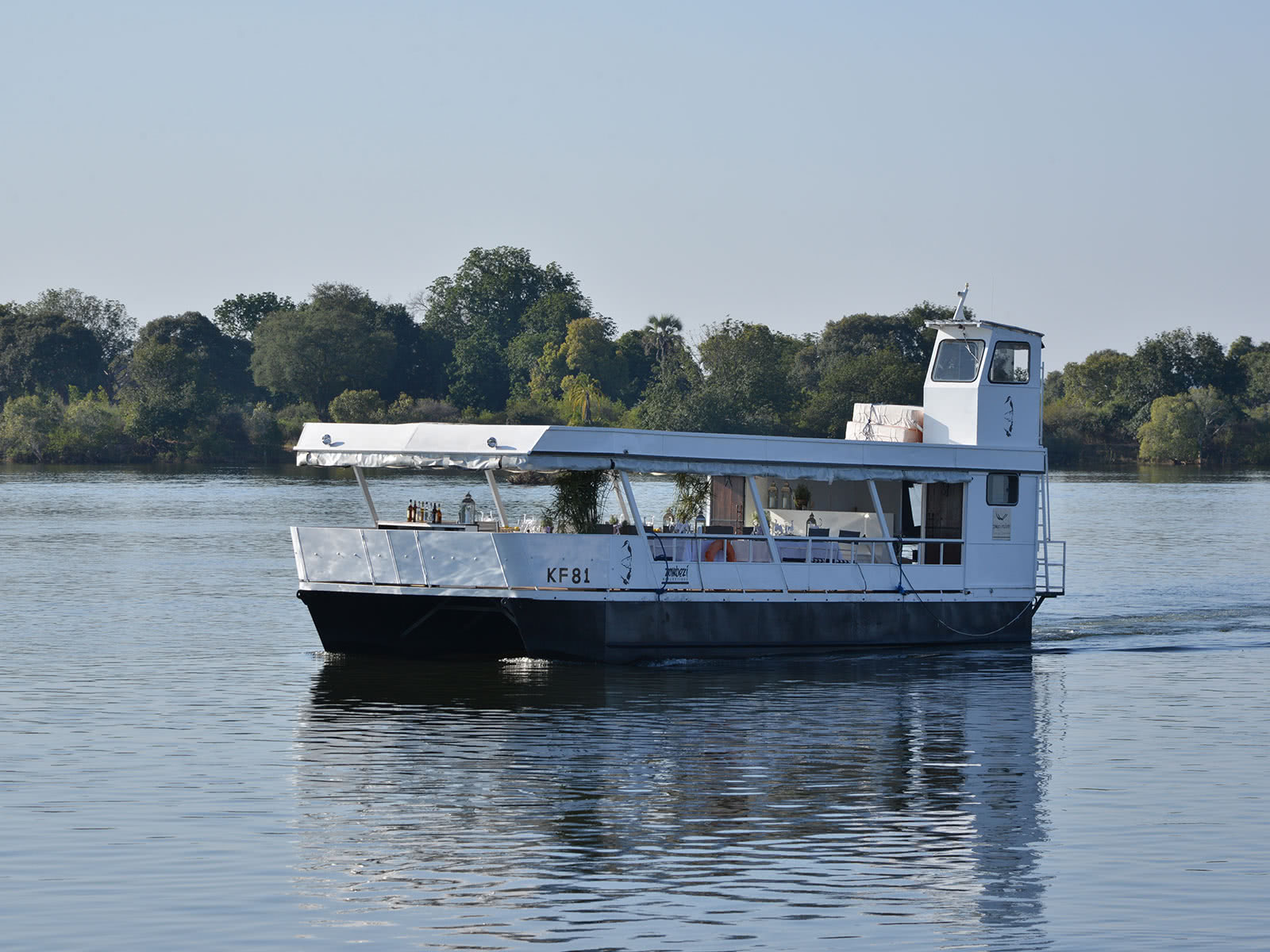 The Zambezi Reflections boat for dinner cruises on the Zambezi River in Victoria Falls, Zimbabwe
