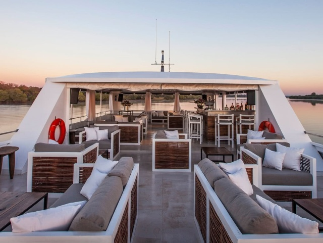The top deck of the luxurious Zambezi Explorer on the river in Victoria Falls, Zimbabwe