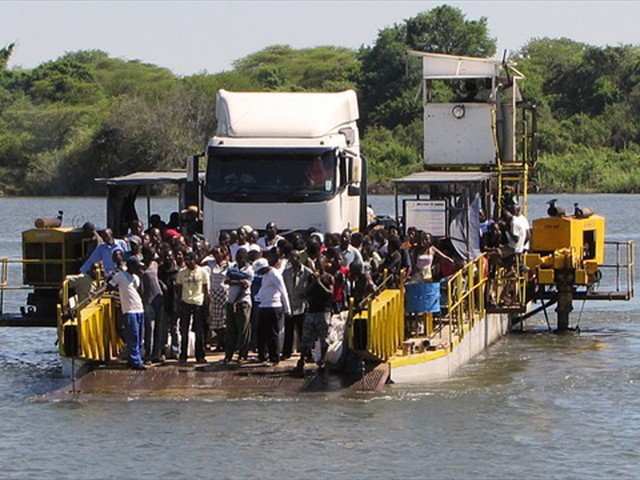 The pontoon Kazungula Ferry crossing the Zambezi River from Zambia to Botswana