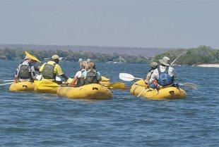 Canoeing on the upper Zambezi River near Victoria Falls
