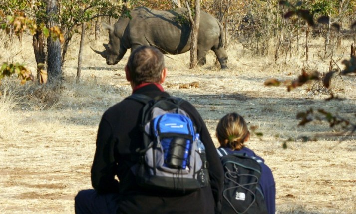 Rhino walk and encounter near Victoria Falls