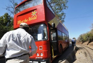 Double decker bus at the Victoria Falls Bridge