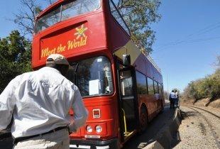 Double decker bus at the Victoria Falls Bridge