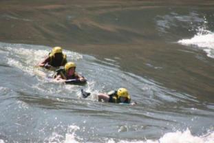 Riverboarding / boogie-boarding on the Zambezi River in Victoria Falls