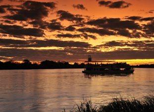 Sunset cruise on the Zambezi River near Victoria Falls