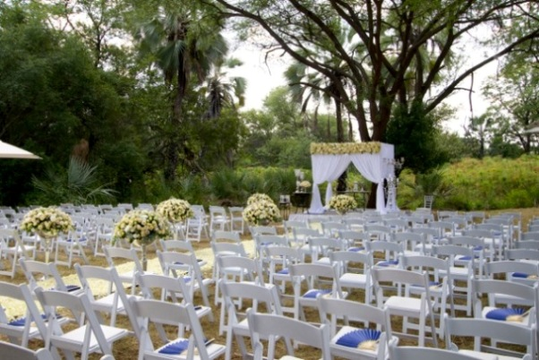 All set for an open-air ceremony in Victoria Falls