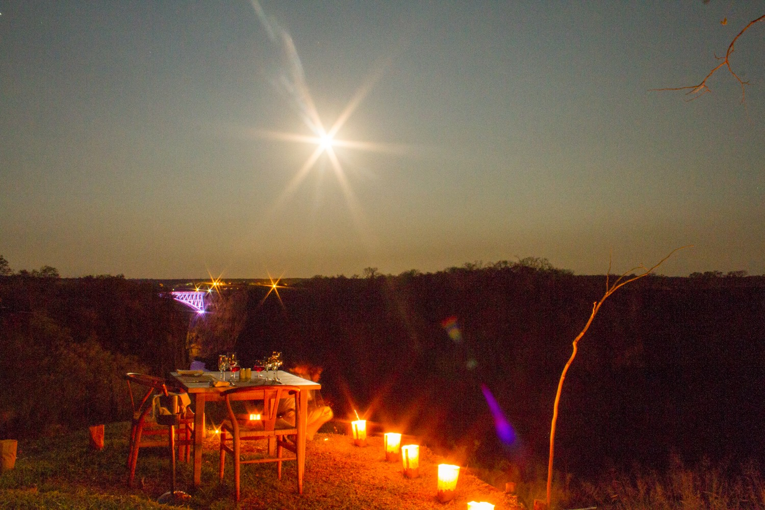 Dinner at the Lookout Cafe under the full moon - Victoria Falls, Zimbabwe