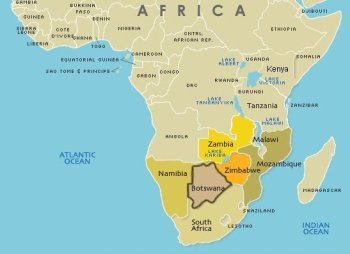 Botswana's location on the African map