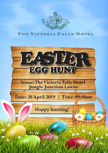 The 2019 Easter egg hunt at the histori Victoria Falls Hotel - Zimbabwe