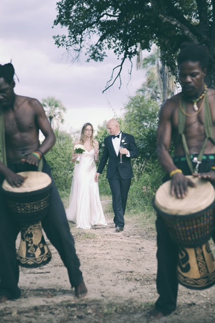 Drums playing for wedding couple in Victoria Falls