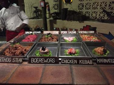Wide selection of meats at The Boma - Victoria Falls, Zimbabwe