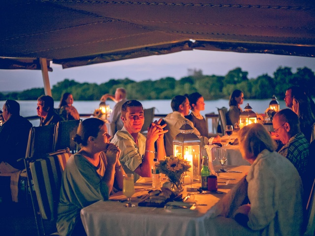 Dinner on the Zambezi River on the Ma Robert in Victoria Falls, Zimbabwe