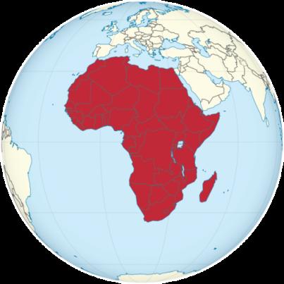 Africa on the globe