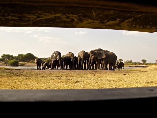 The underground hide at The Hide Safari Camp, Hwange National Park, Zimbabwe