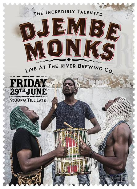Djembe Monks play at the River Brewing Co in Victoria Falls in June 2018. Victoria Falls entertainment, Zimbabwe