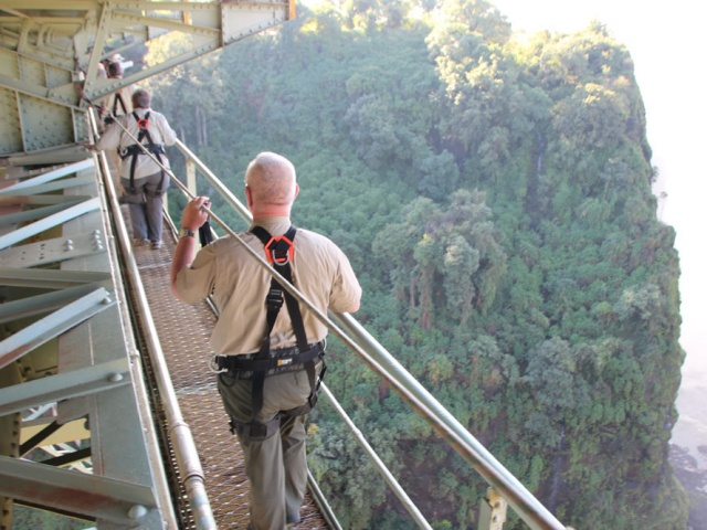 Victoria Falls Bridge tour - walking under the historic bridge between Zimbabwe and Zambia