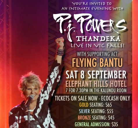 P J Powers live in Victoria Falls, Zimbabwe