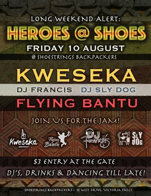 Kweseka, Flying Bantu live at Shoestring Backpackers Lodge in Victoria Falls, Zimbabwe