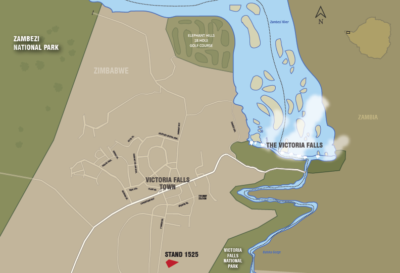 Map showing loaction of Victoria Falls land for sale - Zimbabwe