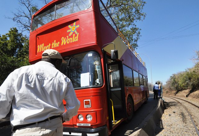 The Bus picking up passengers from the Victoria Falls 