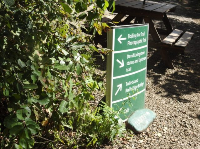 Sign showing directions of viewpoints in Zambia side of Victoria Falls