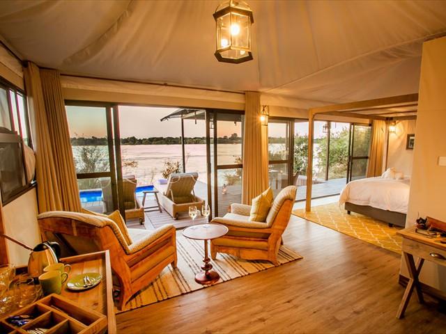 Gorgeous luxury suites in Zambezi National Park, right by the Zambezi River, near Victoria Falls, Zimbabwe