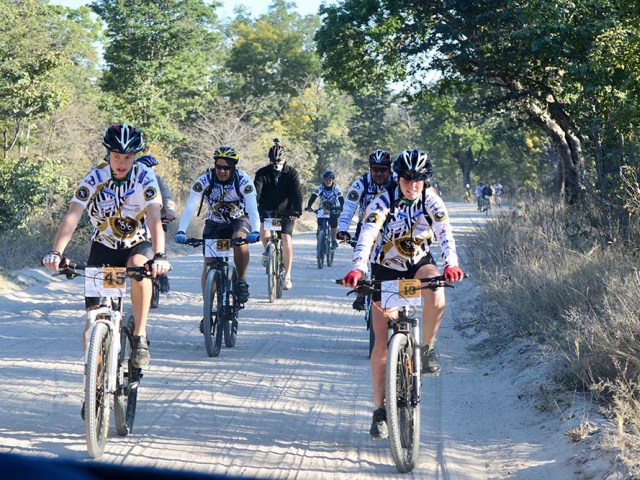 Riders during the 2017 Pumping Legs for Water event in Hwange, Zimbabwe