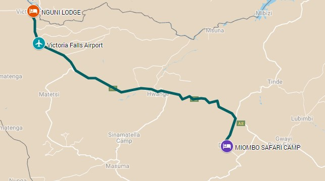 Map of Hwange National Park to Victoria Falls safari itinerary