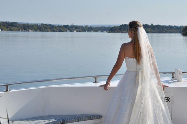 Romantic cruise wedding aboard the Zambezi Explorer in Victoria Falls