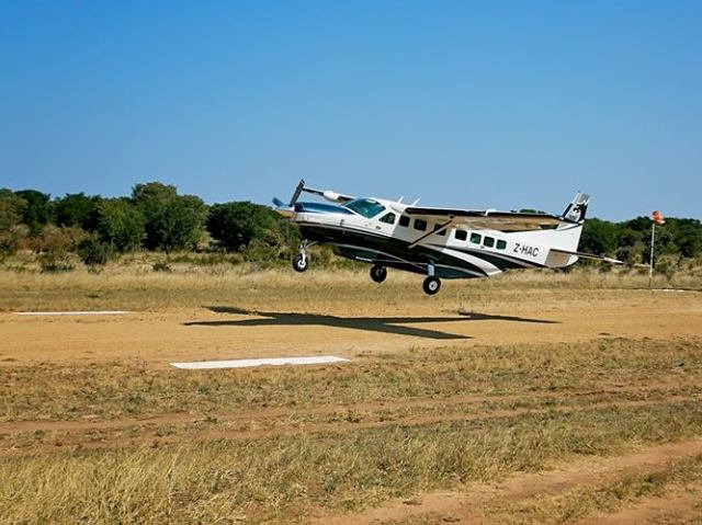 Private charter flight taking off from Hwange National Park