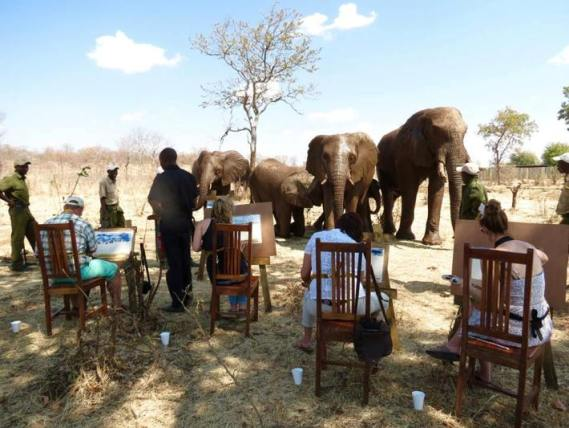 Painting with the elephants in Victoria Falls, Zimbabwe