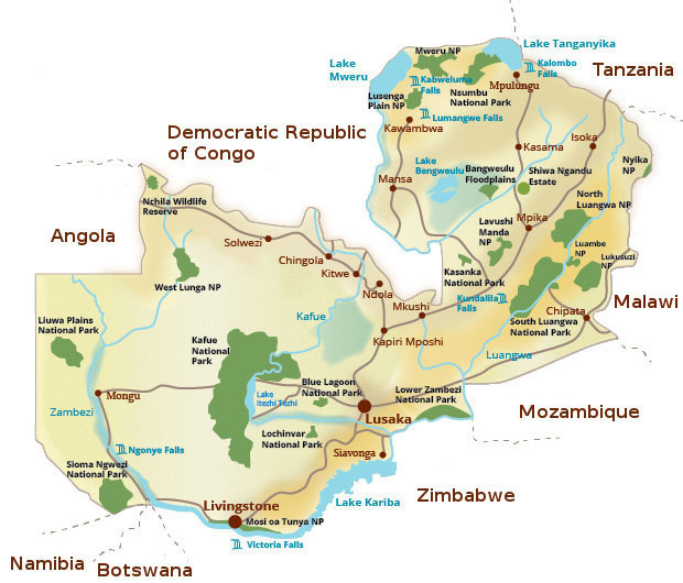Republic of Zambia map