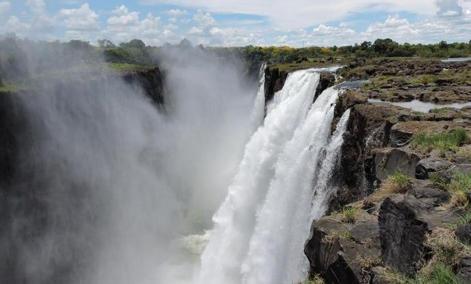 A view of the Victoria Falls from the Zambian side of the border