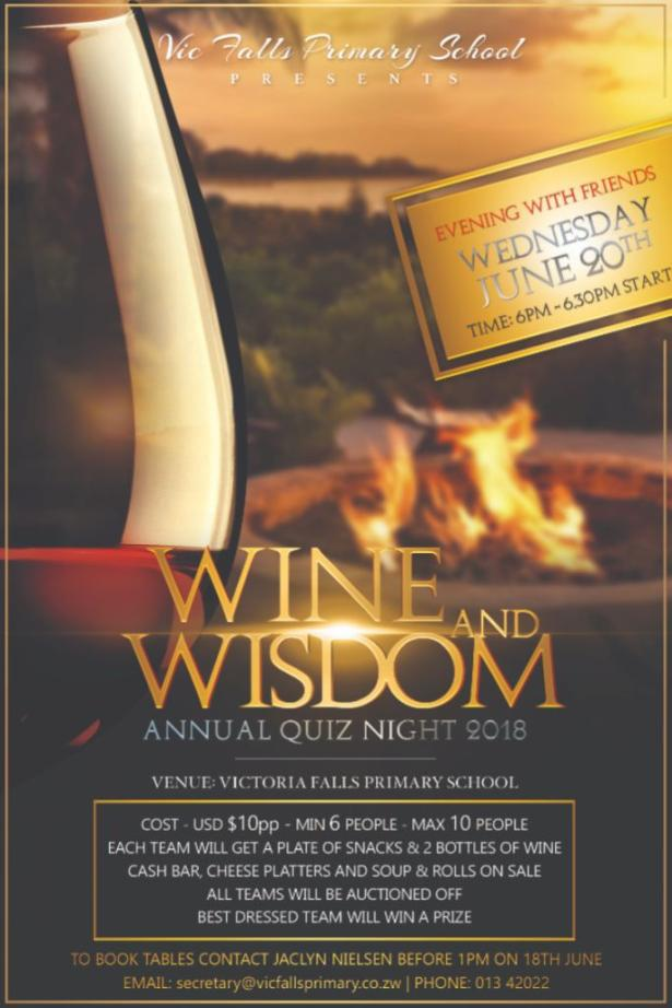 Annual Wine and Wisdom quiz night in Victoria Falls, Zimbabwe