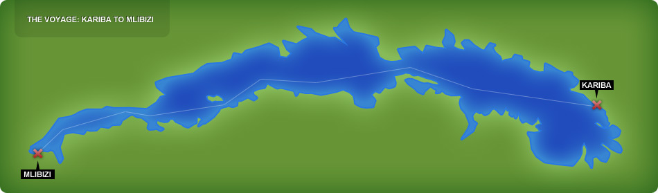 Route map for the Kariba Ferry which goes across Lake Kariba between Andorra Harbour to Mlibizi and back