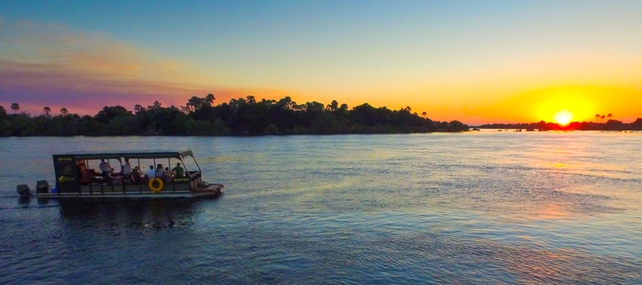 Victoria Falls classic river safari on aqua jet pontoon boat, Zambezi River in Zimbabwe