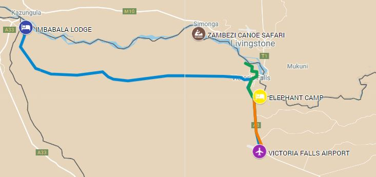 Itinerary route for luxury safari starting on the Zambezi River and ending in Victoria Falls