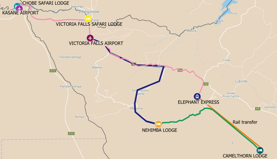 The route map for a Zimbabwe Botswana Safari from Chobe to Hwange and then Victoria Falls Zimbabwe