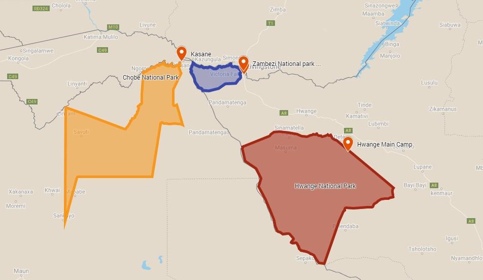 Locations of Chobe (Botswana), Zambezi and Hwange National parks, park entrances and Victoria Falls in Zimbabwe
