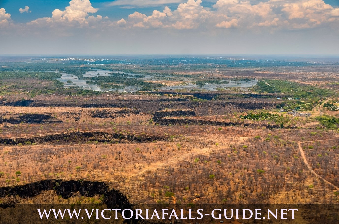 Aerial image of downstream Victoria Falls showing change in angle of altitude