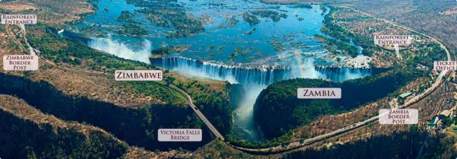 The Victoria Falls spanning across two countries - Zimbabwe (left) and Zambia (right)