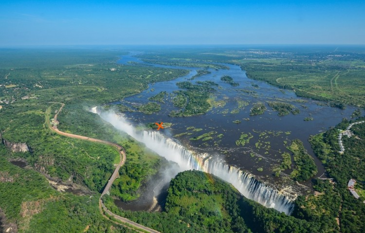 The location of Livingstone Island on the Zambezi River at the Victoria Falls
