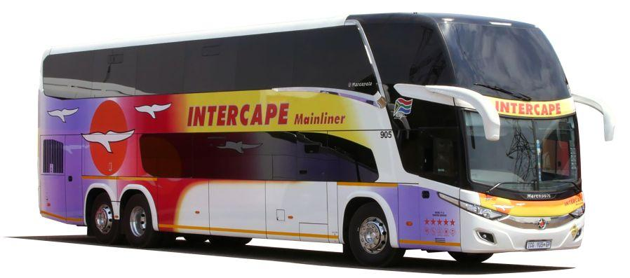 Intercape bus services to Namibia, South Africa, Zimbabwe, Zambia, Mozambique and Malawi. This is their Mainliner model.
