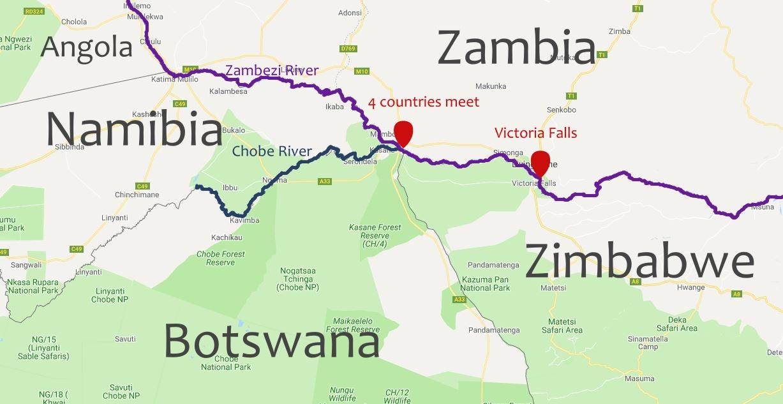 Chobe and Zambezi Rivers meeting where Zimbabwe, Zambia, Namibia and Botswana meet