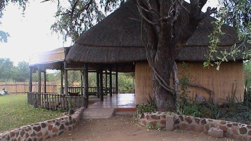 Enclosed garden area at the Zambezi Lodge for sale in Zambia